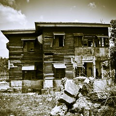 Port Blair, Andaman Islands. India. Wrecked house edited in duotone