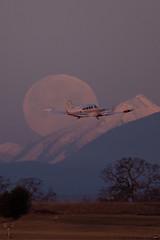 Moon, Mountain, and Movement - original (C McCann) Tags: canada vancouver island airport bc aviation north columbia victoria international british sidney saanich cyyj yyj