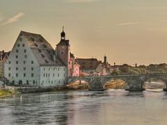 Medieval Danube (joiseyshowaa) Tags: bridge history stone germany bayern deutschland bavaria austria arch middle regensburg ages danube hdr regen midieval stadtamhof donnau thepinnaclehof tphofweek122