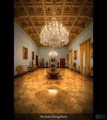 The State Dining Room (HDR) [Explored] (farbspiel) Tags: travel vacation holiday history tourism photoshop logo geotagged photography ancient nikon wideangle malta historic chandelier journey handheld dri hdr highdynamicrange watermark hdri valletta superwideangle 10mm postprocessing dynamicrangeincrease ultrawideangle d90 photomatix wasserzeichen tonemapped tonemapping mlt watermarking statediningroom detailenhancer topazadjust topazdenoise klausherrmann topazsoftware sigma1020mmf35exdchsm topazphotoshopbundle topazinfocus gandmasterspalace geo:lat=3589883233 geo:lon=1451408744 statedininghall
