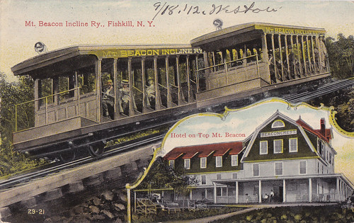 Cars Passing on Incline and inset of Beaconcrest Hotel