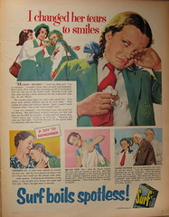 """I changed her tears to smiles"" - Surf soap powder detergent advert, 1955 (mikeyashworth) Tags: 1955 surf advert lever everybodys leverbrothers surfdetergent everybodysweekly detergentadvert surfsoappowder soappowderadvert mikeashworthcollection"