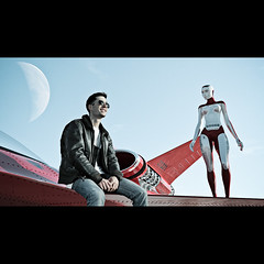 Red Planet (Richard Upshur) Tags: sunset sky mars male smiling female standing plane outside 3d cg ship sitting wing engine planet scifi technician sciencefiction canopy mechanic aviator pilot android rivet bleachbypass strobist