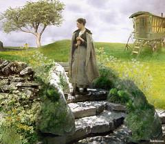 The Traveller (rubyblossom.) Tags: woman tree grass steps meadow traveller caravan gypsy floweres photoshoptalentweeklycontests66