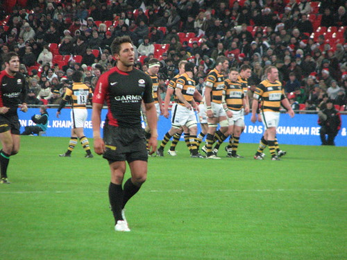 Gavin Henson plays rugby for Saracens vs Wasps at Wembley Stadium