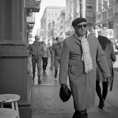 (patrickjoust) Tags: street new york city nyc people urban bw usa white ny man black 120 6x6 tlr blancoynegro film home sunglasses analog america scarf walking square lens person us reflex focus fuji mechanical manhattan united north broadway patrick twin mat v 124g epson fujifilm medium format neopan 100 states manual 500 gotham 13 beret 80 joust developed yashica develop acros estados xtol 80mm f35 blancetnoir unidos yashinon v500 schwarzundweiss autaut patrickjoust