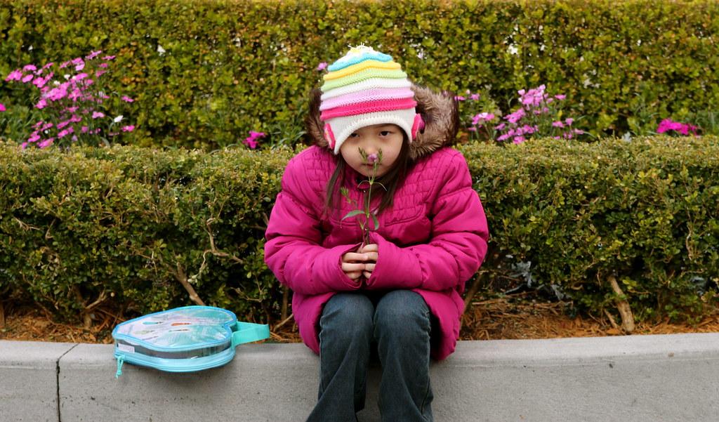 Little Girl smelling the little flower