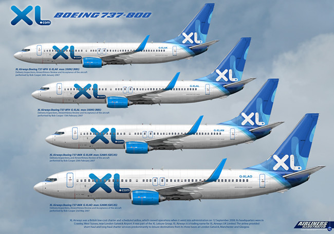 XL Airways Boeing 737-800 UK Fleet