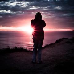 When It Comes, Grab It (Jeremy Lusk) Tags: ocean california light sunset sea portrait sky woman sun west water silhouette clouds coast la losangeles sweater still highway waves pacific stranger pch final flare ponytail overlook gaze vignette placid palisades speechless jeremy