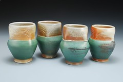 Green Cups (Joy Tanner Pottery and Inspirations) Tags: wood flowers trees winter red summer white mountains green art fall texture cup nature water leaves wheel seashells carved spring rocks ceramics artist handmade teal decorative crafts north earthy bark carolina pottery impressed etsy functional porcelain earthtones stoneware thrown woodfired westernnorthcarolina sodafired joytanner