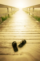 2011 (ilina s) Tags: road wood bridge summer mist black grass ahead fog sand slippers pathway endless cottonsunday