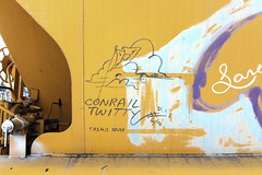 "Conrail Twitty ""Tasha Bday"" (Voluntary Amputation) Tags: graffiti nh tags hobo dif rxr monikers benching dixieironfist"