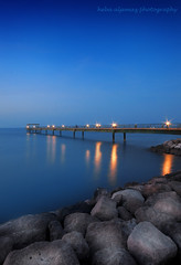 kuwait blue hour (heba aljemaz) Tags: blue sea nikon rocks hour kuwait       d300s
