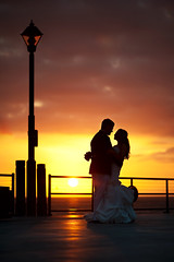 They Love Lamp Too (Extra Medium) Tags: wedding sunset lamp silhouette groom bride pier evelyn jimmy redondobeach