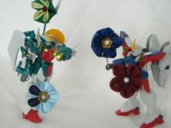 gundam fight closeup (Kitty Kanzashi Designs) Tags: fun handmade gundam tsumami kanzashi