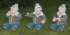 Sticks (Mr:Mac) Tags: winter boy grass hat dark children kid sticks nikon triptych child d70 coat triplets