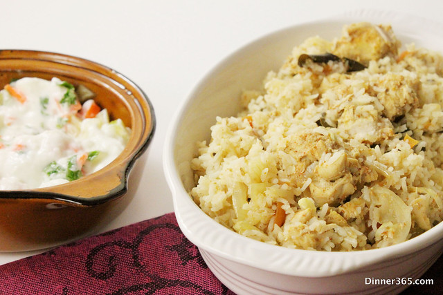 Day 14 - Quick fix Chicken Biryani with Raita