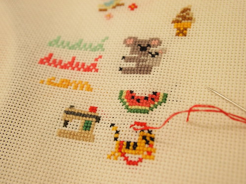 I started doing cross stitch
