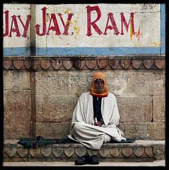 Jay, Jay, Ram (designldg) Tags: morning winter people india man square emotion expression atmosphere human elder varanasi dharma kashi ganga ganges ghats benares benaras uttarpradesh  indiasong