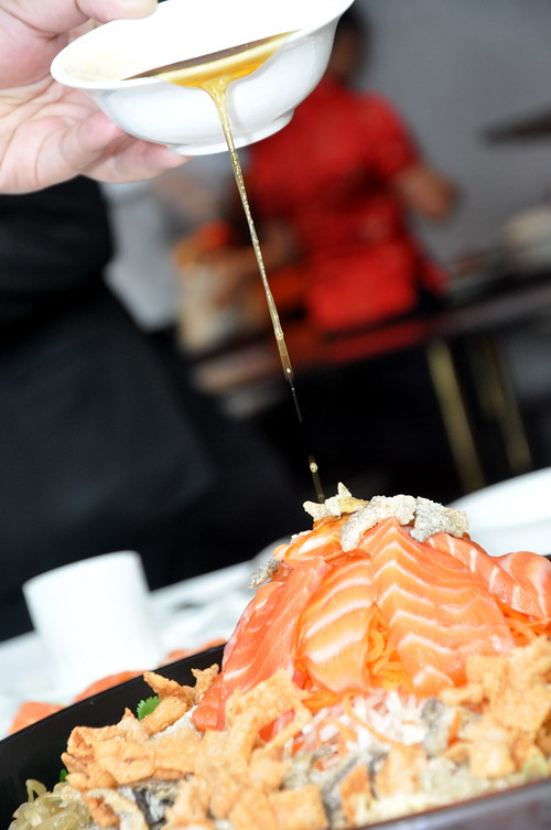 Prosperity Yee Sang Served with Salmon