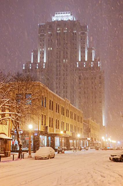 Maryland Plaza, in Saint Louis, Missouri, USA - view at night with snow