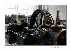 Stolet pry . . . (drim3r) Tags: people bw white man black museum century painting interesting nikon afternoon czech image tea magic picture engine machine gimp steam brno technical years cz 105 lovely nikkor 18 coffe czechoslovakia unit roky kva wonderfull ern bl d90 stroj aj odpoledne stolet parn technick