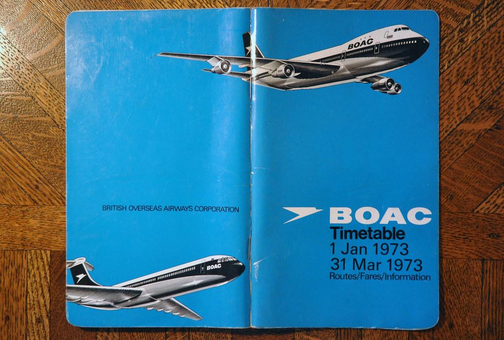 BOAC Timetable January 1973