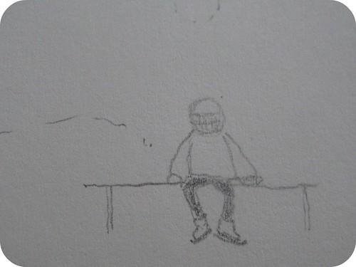 skater resting on bench sketch
