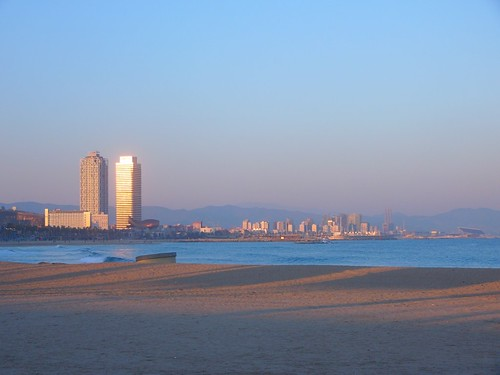 Sunday stroll on the beach in Barcelona