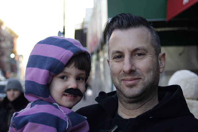 Father and mustachio'd child