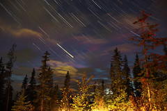 Boer Mtn (wulffenk) Tags: canon eos m2 m star trail camping trees spruce fir clouds night stack