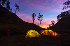 sunrise at base camp (sydeen) Tags: tent camping sunset silhouette night sunrise adventure nature outdoor travel hiking people background landscape sky mountain camp yellow alone evening beautiful shape tree hill cloud blue twilight