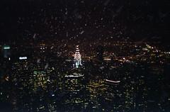 city snowstorm (scott w. h. young) Tags: nyc newyorkcity winter light snow storm love film night 35mm manhattan empirestatebuilding chryslerbuilding