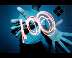 Day 100!! (quornflake) Tags: longexposure pink blue lightpainting weird lighttrails 365 trippy dailyshoot
