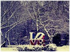 LOVE Snow #2 (luidude) Tags: autumn trees snow fall philadelphia leaves canon campus pennsylvania centercity fallcolors snowstorm pa penn philly upenn universityofpennsylvania phila lovesculpture camarabag canonpowershotsd950is