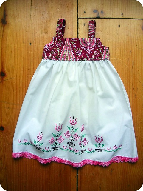 cross stitched farm girl dress