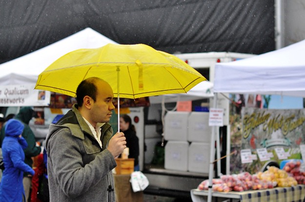 market yellow umbrella
