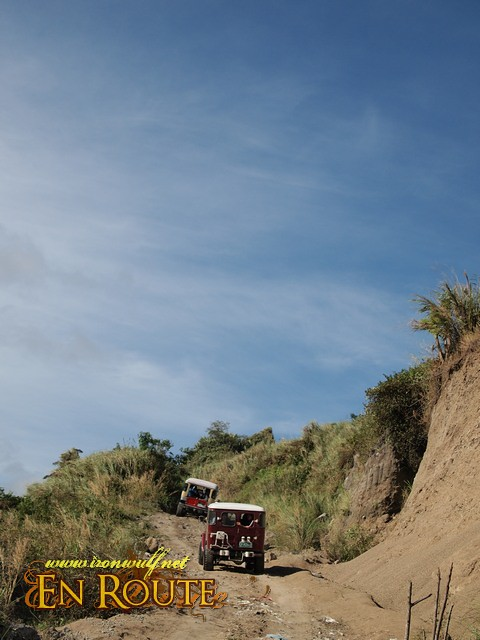 Our 4x4s heading up to the Skyway Route