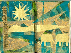 Altered Book - India (Imajica Amadoro) Tags: india elephant abstract collage miniature aqua originalart turquoise tissue small places tiny alteredbook collaboration artbook bookart goldleaf alteredart papercollage papersculpture artistsbooks tornpapercollage cutpapercollage mommsen alteredbookroundrobin analogart arttissue alteringbooks catherinelmommsen catherinemommsen abhjrr