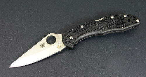 "Spyderco Delica 4 Folding Knife 2-9/16"" VG10 Satin Plain Blade, Black FRN Handles"