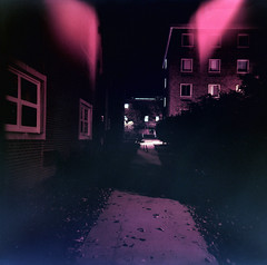 Pink and Purple Fright (pezoldtk) Tags: light fall film night campus holga university path grain east walkway leaks 120n stroudsburg