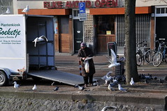 'Vogelvrouw' De Wittenkade Amsterdam (FaceMePLS) Tags: amsterdam nederland thenetherlands streetphotography feedingthebirds vrouw doves duiven voeren straatfotografie facemepls vliegenderatten nikond300