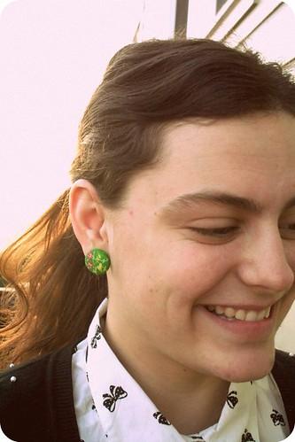 Green Flower Earrings!
