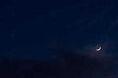 Waxing Crescent Moon & Jupiter Conjunction (AdrianJScott) Tags: moon crescent jupiter waxing earthshine conjunction