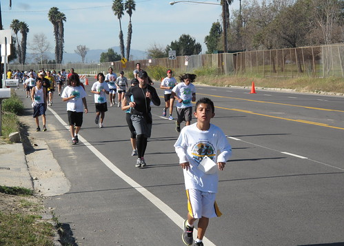 All those kids in white are HS and middle school kids training for the LA Marathon