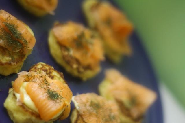 potato pancakes with salmon and dill