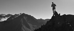 Perilous on a ridge of Hurdygurdy Peak. Chugach Mountains, Alaska (Paxson Woelber) Tags: park blackandwhite bw panorama cliff mountain alaska river state hiking dramatic peak panoramic cliffs climbing eagleriver hiker climber rugged chugachmountains chugachstatepark alaskaphoto alaskaphotos dramaticphotography alaskapanoramic alaskahiking alaskaclimbing fluteglacier alaskapanorama alaskalandscapephotography hurdygurdypeak cantatapeak alaskanlandscapephotography alaskalandscapephotos cantatapk hurdygurdypk