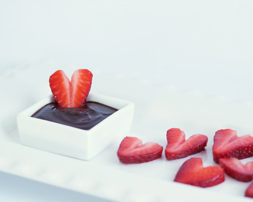 Strawberry Hearts in Chocolate Ganache