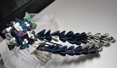 Midnight Star Flower. Ornate Custom Hair Pin. (Bright Wish Kanzashi) Tags: blue wedding flower silver hair bride purple bridal ornate hairpin accessory hairornament    hanatsukuri