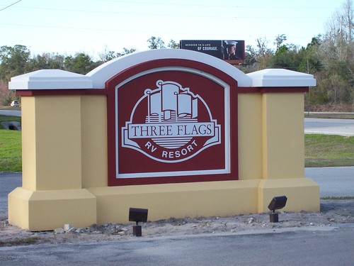 New Sign at Three Flags RV Resort in Wildwood Florida